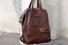 men waxed leather bag
