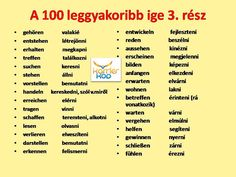 100 leggyakoribb ige German English, Learn German, German Language, Education, Learning, Type 3, Facebook, Sport, Halloween