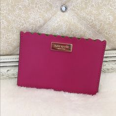 SALE Kate Spade Card Holder ‼️PRICE FIRM‼️Kate Spade Card Holder in swthrtpink with gold for Kate spade, 3 slots inside lining is Kate Spade material. Super cute and compact! kate spade Bags Wallets