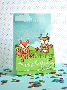 Lawn Fawn - Party Animal, Stitched Hillside Borders, Grassy Border, Sky Lawn Trimmings _ super sweet birthday card by vilenagrishina via Flickr