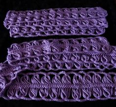 hairpin lace tutorial | 240 loops per side . Red Heart Soft Touch Yarn in Lavender 3720