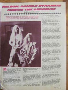 Matthew and Gunnar Nelson, Full Page Vintage Clipping