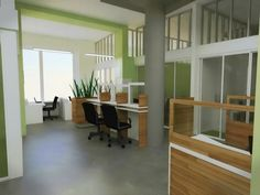 Office interior with wood cubicles. The design of this office gives it a fresh, light, natural feel that is conducive to getting work done! #sustainable #office #interior