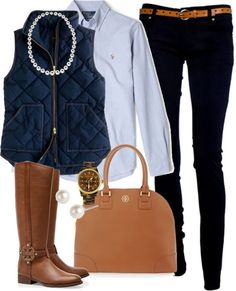 Perfect fall outfit. I have a light blue quilted vest, would be cute with my boots.