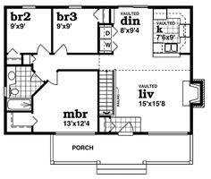 Farmhouse Style House Plan - 3 Beds 1 Baths 988 Sq/Ft Plan #47-420 Floor Plan - Main Floor Plan - Houseplans.com