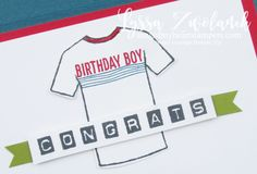 Custom Tee Designer Shirt Stampin Up Control Freaks Blog Hop tees tshirt stamp birthday boy sports masculine male cards