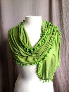 Cool scarf with Pom Pom trim, nice way to brighten up winter wardrobe!