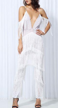 White fringe off the shoulder jumpsuit. #slayaccessories #whitejumpsuit #fringejumpsuit #tasseljumpsuit #offtheshoulder