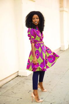 African Print long jacket with jeans and Louboutin shoes