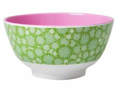 Rice green casablanca bowl - Stylish melamine bowl in a green two tone design. Dimensions: H7.5cm x D15cm http://www.tinderandtide.co.uk/product.php?cid=398&pid=679