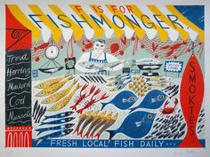 """F is for Fishmonger"" by Emily Sutton from her ""A-Z"" series for the Penfold Press (screen print)"