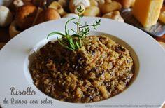 Risotto de quinoa con setas: reduce un poco la cantidad de aceite de oliva y tendrás un plato perfecto para la #nuevadietadukan (sábado, comida de feculentos) o para la dieta Dukan original en Consolidación (comida de feculentos)