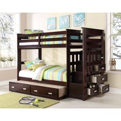 Acme Allentown 10170 Espresso Twin Over Twin Bunk Bed With Trundle And  Storage