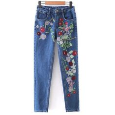 Floral Embroidered Tapered Jeans (225 GTQ) ❤ liked on Polyvore featuring jeans, blue jeans, tapered fit jeans and tapered jeans