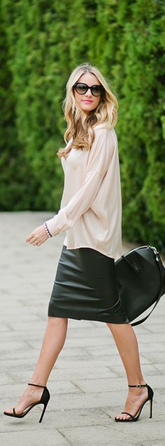 Leather skirt, slim legs and ankle strappers