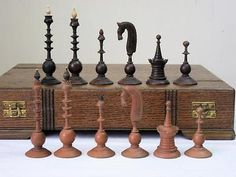 """ANTIQUE 18th CENTURY DUTCH CHESS SET KING 4"""" + LARGE OAK BOX - NO BOARD Kings Game, Wood Carving Art, Chess Pieces, Wood Turning, 18th Century, Dutch, Glass Art, Chess Sets, Antiques"""