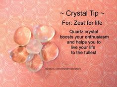 ✯ Crystal Tip: For Zest for Life ✯ https://www.etsy.com/ca/shop/MagickalGoodies