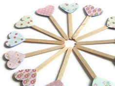 Heart Cupcake Toppers Tea Party Picks Pastel Floral by Boetica