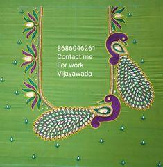 Peacock Blouse Designs, Simple Blouse Designs, Blouse Designs Silk, Peacock Design, Small Rangoli Design, Rangoli Designs, Simple Embroidery, Hand Embroidery Designs, Maggam Work Designs