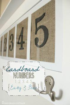 DIY Cardboard Numbers | The Wood Grain Cottage  http://www.thewoodgraincottage.com/ 2013/04/10/diy-cardboard-numbers/