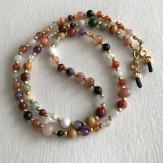 Multi-Gemstone and Glass Beaded Eyeglass Chain-Sunglass Chain-Eyeglass Holder-Eyeglass Cord-Chain for Glasses-Necklace - DIY Schmuck Seed Bead Necklace, Beaded Necklace, Beaded Bracelets, Beaded Jewelry, Handmade Jewelry, Jewellery, Eyeglass Holder, Diy Schmuck, Necklace Designs