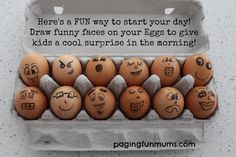Eggy Faces…and 'egg-cellent' surprise for the kids in the morning! (cooking with kids pictures) Easter Games For Kids, Crafts For Kids, Good Food, Yummy Food, Fun Food, Egg Carton Crafts, Easter Celebration, Cooking With Kids, Play