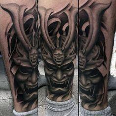 Man Withhorned Samurai Mask Shaded Calf Tattoo