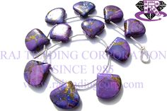 Purple Copper Turquoise Smooth Heart (Quality AA) Shape: Heart Smooth Length: 18 cm Weight Approx: 15 to 17 Grms. Size Approx: 14.5 to 17 mm Price $28.80 Each Strand