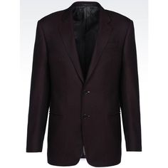 ARMANI COLLEZIONI Comfort Fit Jacket In Wool Blend (19.355 ARS) ❤ liked on Polyvore featuring men's fashion, men's clothing, men's outerwear, men's jackets, maroon and armani collezioni