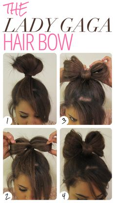 Easy & fast way to do a hair bow! Good if you're running late and want to look cute!   -This almost makes me wish I had long hair. Almost. Because bow ties are cool. :3 xDD