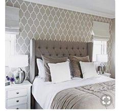 grey bedroom feature headboard chic pattern