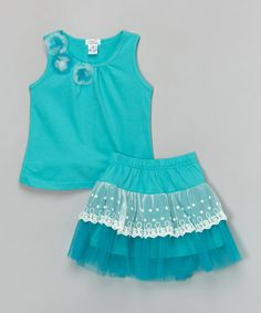 This Teal Rosette Tank & Lace Skirt - Toddler & Girls by Littoe Potatoes is perfect! #zulilyfinds