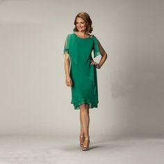 Green Jewel Neck Formal Mother of the Bride Dresses Simple Chiffon Jewel Neck Beaded Knee Length Slim Wedding Party Women Dress Custom Made