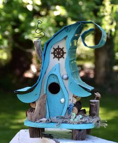 Bird house, birdhouse, nautical birdhouse, beach decor, nautical decor, functional birdhouse in custom colors by PapaJonsflyinns on Etsy #birdhousekits