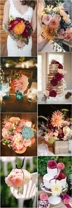 dahlia wedding ideas- wedding flower ideas see more: http://www.deerpearlflowers.com/40-dahlias-wedding-bouquets-and-cakes/
