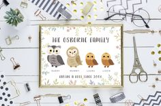 personalised family owl printable poster