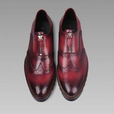 Designer Brown Leather Brock Fashion Wedding Prom Dress Shoes for Men SKU-1280698