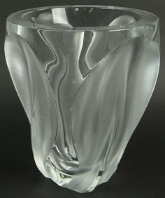 """Large and Heavy French Lalique Frosted and Clear Crystal """"Ingrid"""" Vase. Rubbed Signature to Base."""