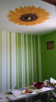 Flower Ceiling, Ceiling Murals, Bathroom Lighting, Mirror, Flowers, Home Decor, Bathroom Light Fittings, Bathroom Vanity Lighting, Decoration Home