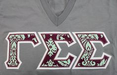 Sorority Greek Letters- Slate Grey American Apparel V-Neck - Purple Mint Damask Fabric - Gamma Sigma Sigma Letters
