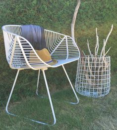White 'Portobello' wire chair & white 'Moeraki' storage stool. Handcrafted wire furniture From Ico Traders.