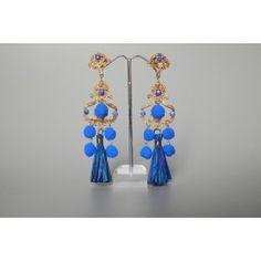 Orecchini Nappe & Pon Pon Blue - Orecchini - Catalogo per categoria