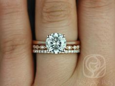 Skinny Flora 8mm, Ultra Petite Bead Eye, & Swt Kubian 14kt FB Moissanite and Diamonds Wedding Set (Other metals and stone options available)