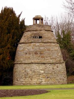 The dovecote (or doocot) close to Strawberry Bank, Linlithgow. Built in the 16th century, it has 370 nest holes for pigeons. These were fattened as part of the winter diet of the wealthy nobleman owner.