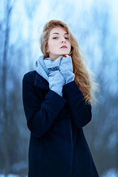 Wintry outdoor portrait.
