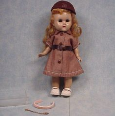 Vintage Vogue Ginny Doll with Headband and Heart Necklace