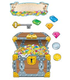 """This fun, treasure-themed bulletin board set is perfect for student welcome and behavior management and includes:  A treasure chest (approx. 22.75"""" x 26.75"""" assembled) A removable treasure overlay 21 gems 10 coins A key A blank scroll header A resource guide"""