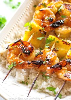 Grilled Shrimp and Pineapple Skewers over Coconut Rice