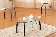 3 Piece Oval Coffee Table Set
