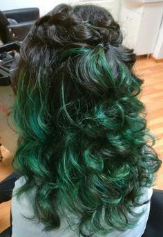 Turqoise balayage braid on long curly hair